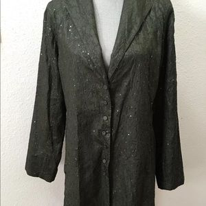 Eileen Fisher green duster jacket blazer large EUC